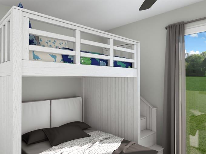 Chambre enfant avec lit superposé