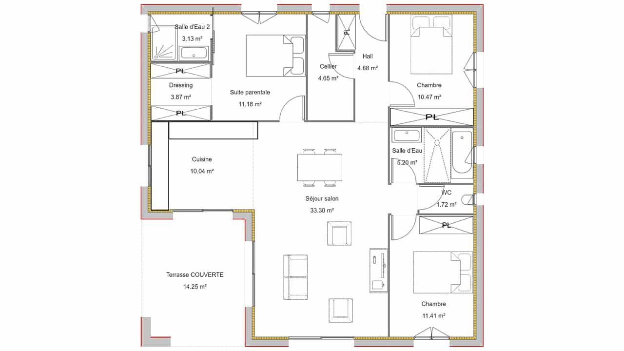 Plan maison 3 chambres avec terrasse couverte