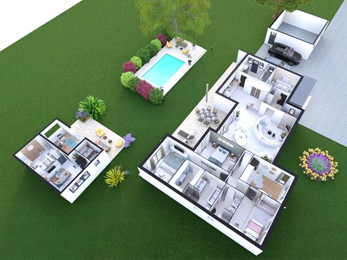 Plan maison 3 chambres et espace de télétravail