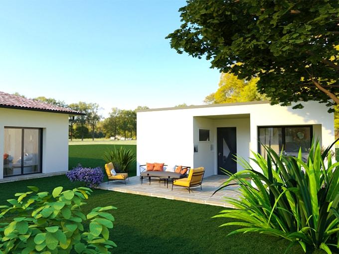 Dépendance d'une maison neuve avec terrasse