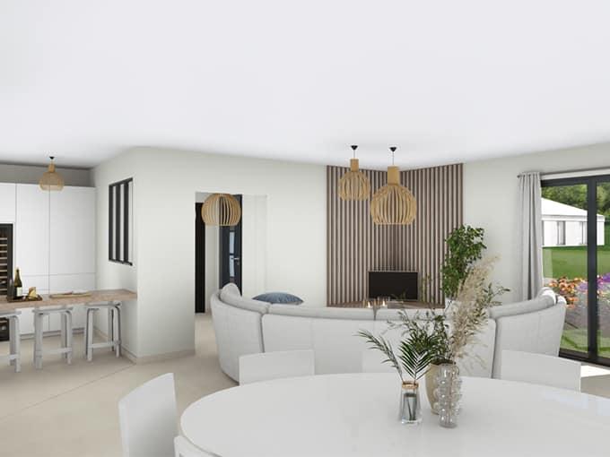 Salon et salle à manger avec canapé et table ronde