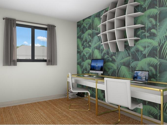 Espace de télétravail lumineux avec deux bureaux