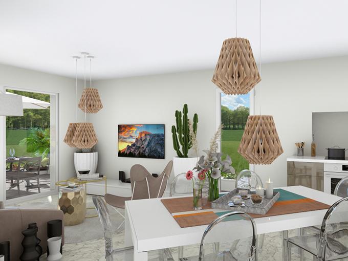 Séjour - salon avec table à manger et espace TV