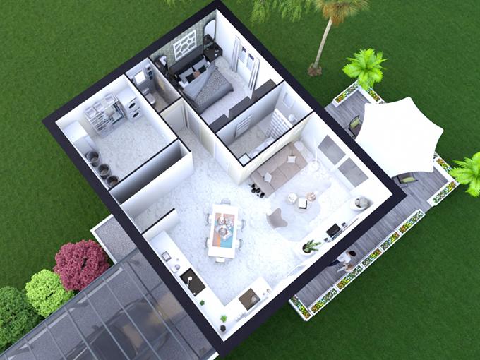 Plan maison une chambre dans les Landes
