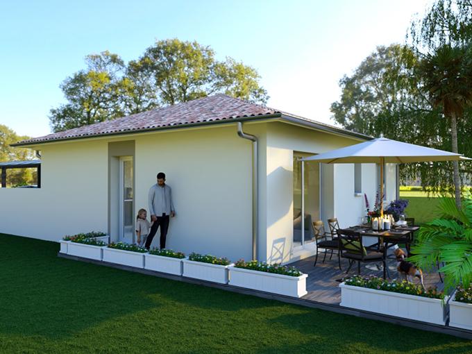 Maison moderne une chambre avec terrasse