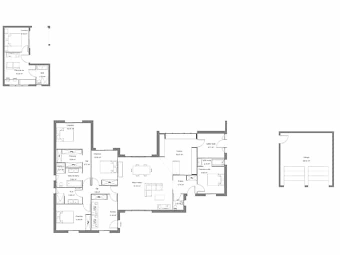 Plan maison moderne avec 3 chambres et un bureau pour le télétravail