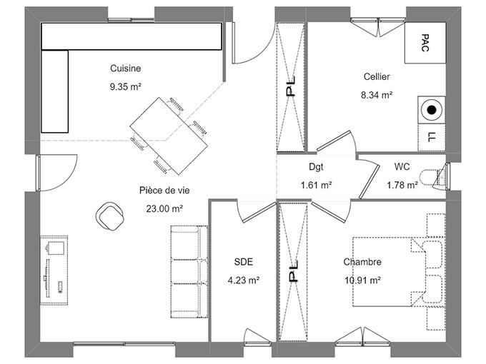 Plan maison une chambre avec pièce supplémentaire