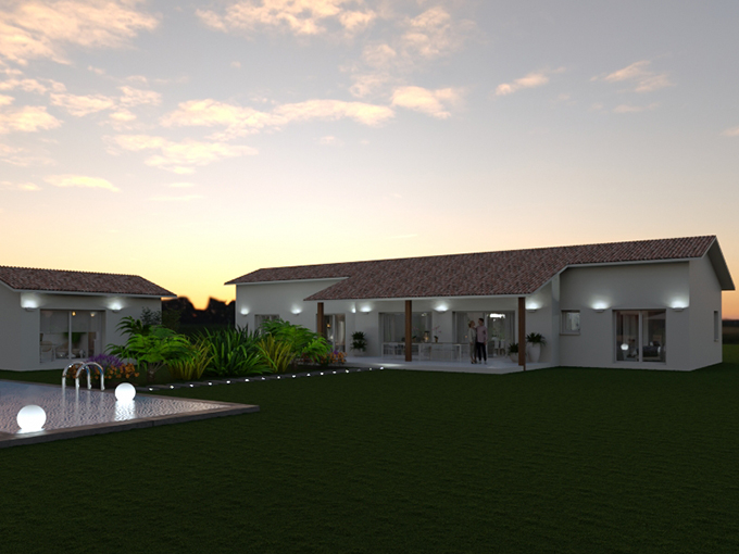 Maison neuve de nuit avec dépendance et piscine