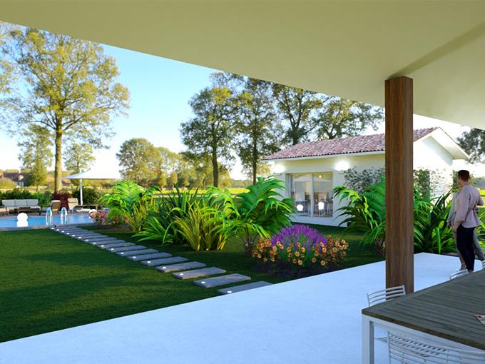 Vue terrasse avec piscine et dépendance