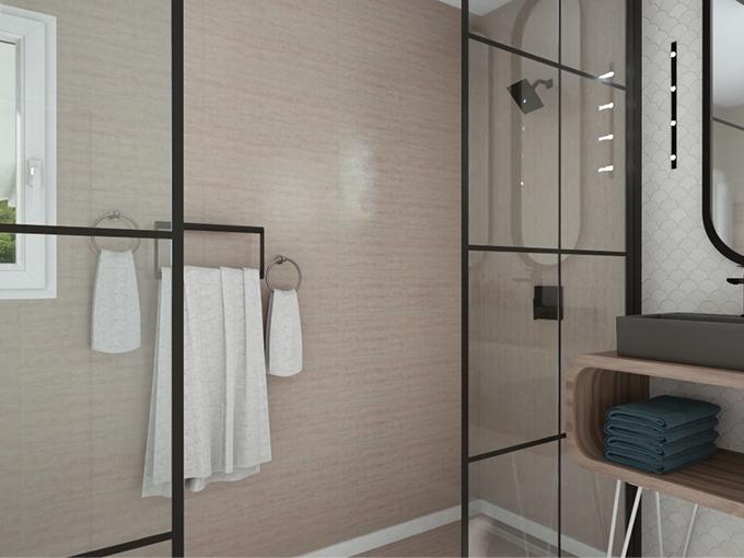 Salle d'eau avec douche moderne