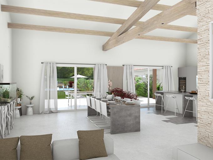 Salon avec toit rampant et double baies vitrées