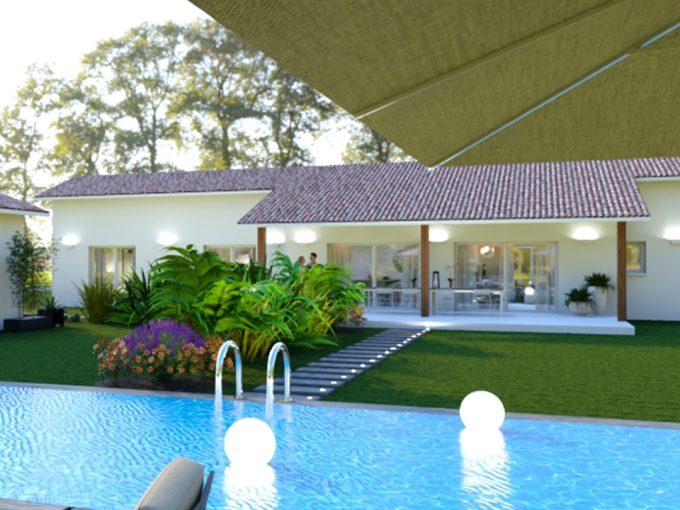 Maison neuve avec une piscine et terrasse couverte