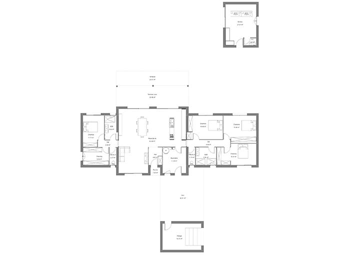 Plan d'une maison avec 4 chambres et un garage
