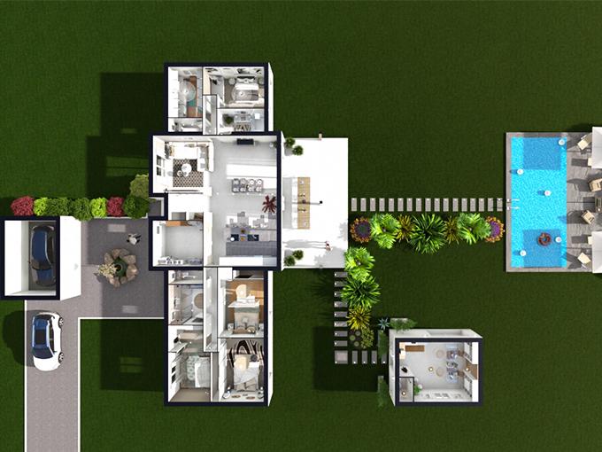 Plan d'une maison neuve avec 4 chambres, un garage, un bureau et une piscine