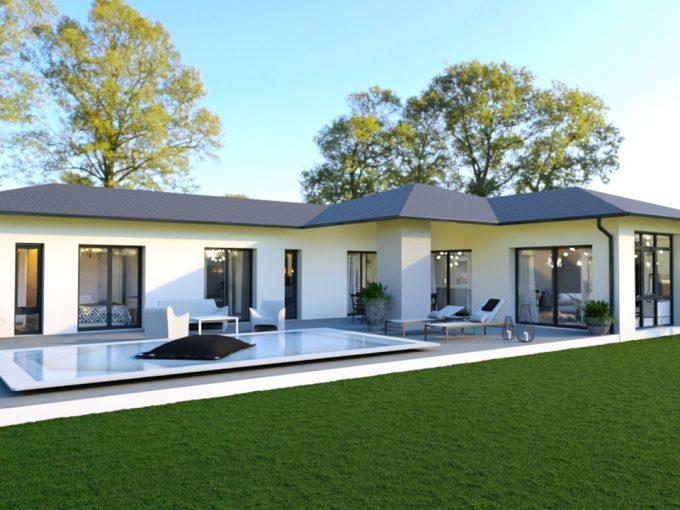Maison contemporaine avec façade claire et tuiles noires