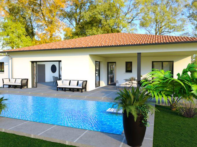 Maison modern avec piscine et garage toit plat