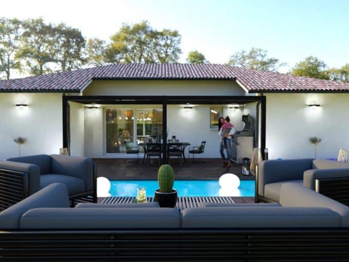 Maison moderne avec piscine et pergola