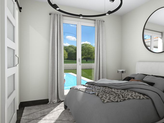 Porte fenêtre d'une chambre donnant sur la piscine