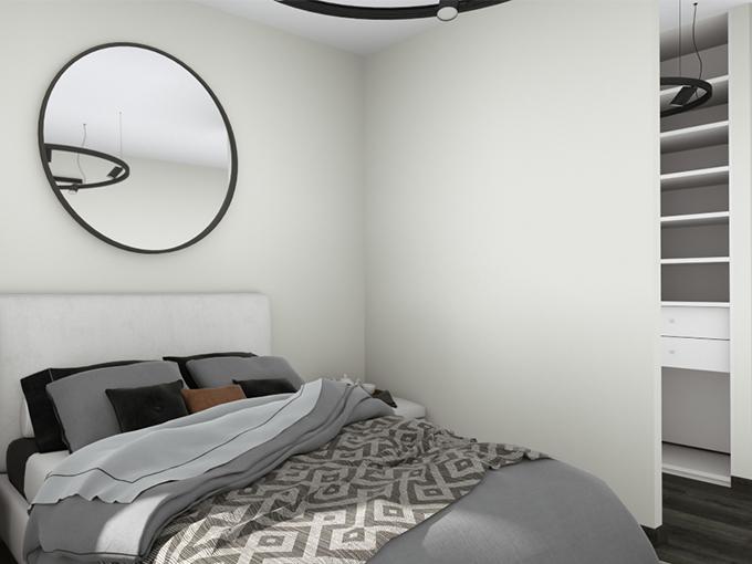 Chambre moderne avec baie vitrée et grand lit