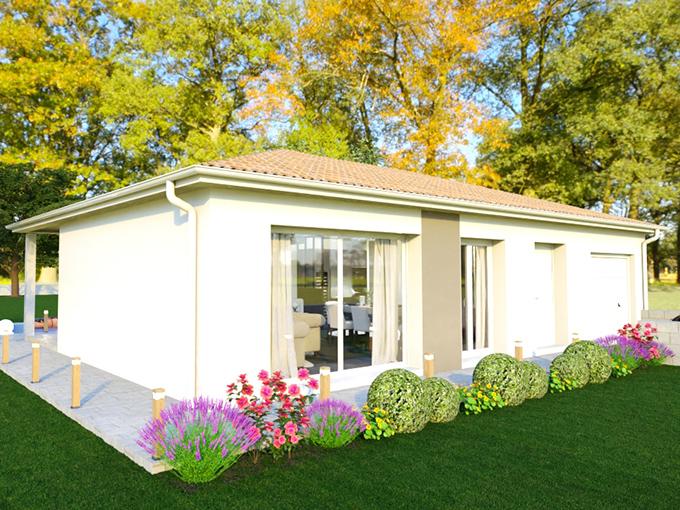 Maison moderne avec grade baie vitrée et toiture quatre pans