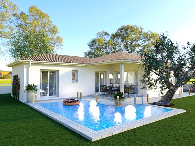Maison moderne à l'architecture en L avec piscine