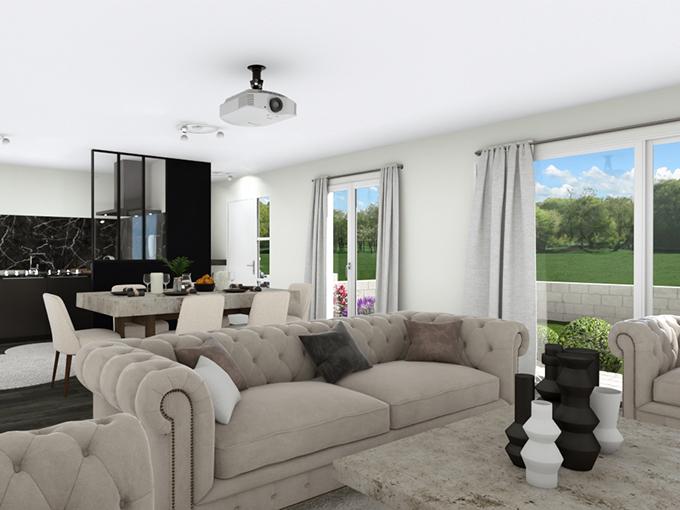 Salon avec deux baies vitrées et cuisine ouverte