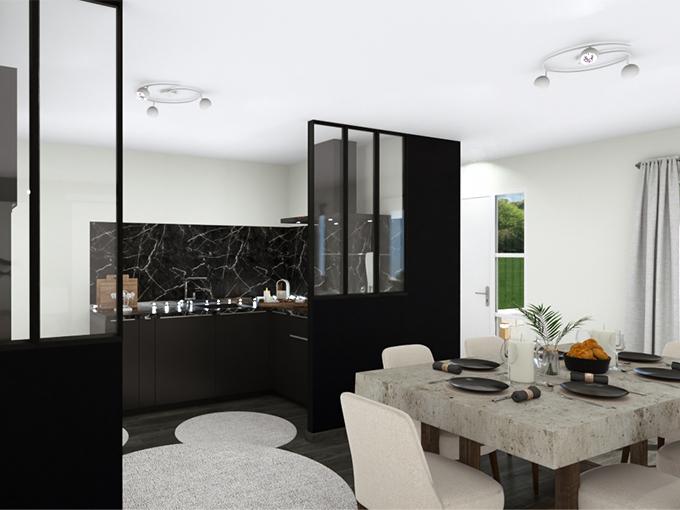 Salon et salle à manger avec table et chaises design