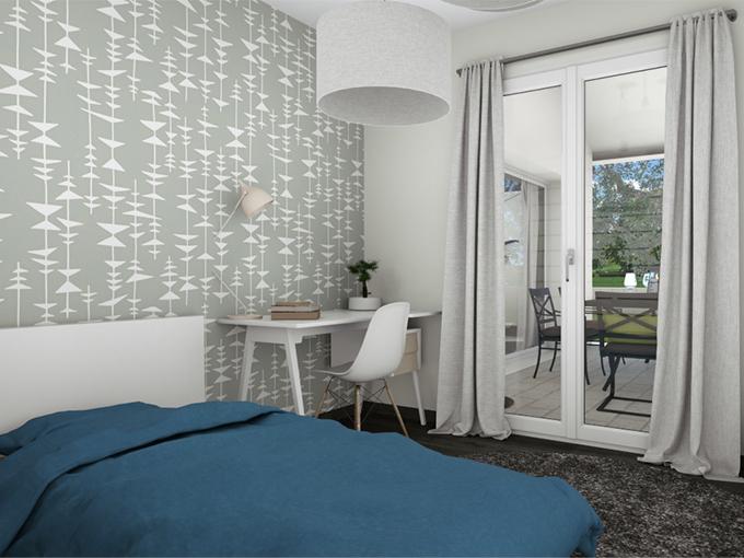 Chambre moderne avec porte fenêtre donnant sur la terrasse
