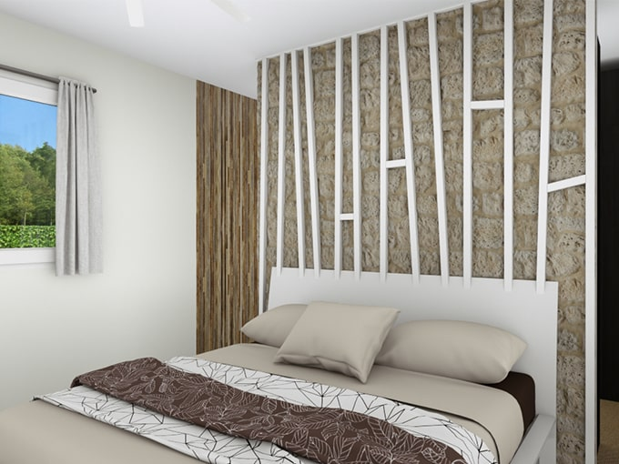 Chambre parentale avec espace dressing derrière le lit