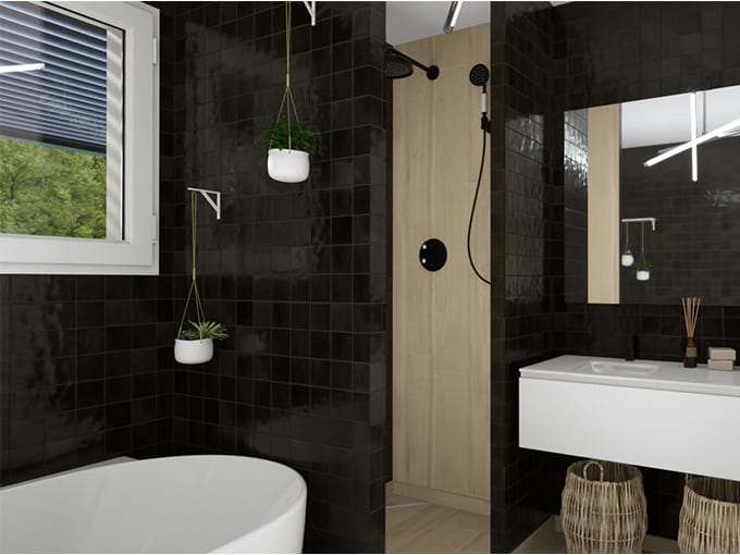 Salle de bains avec douche à l'italienne et baignoire