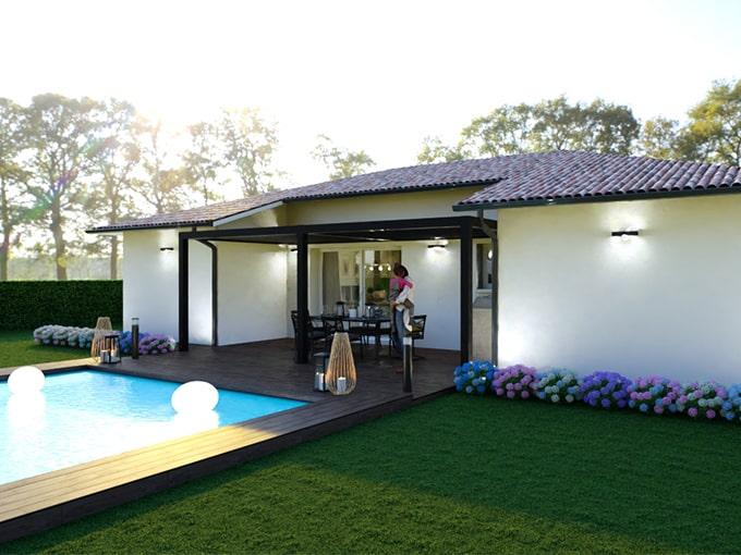 Terrasse d'une maison moderne avec piscine et pergola