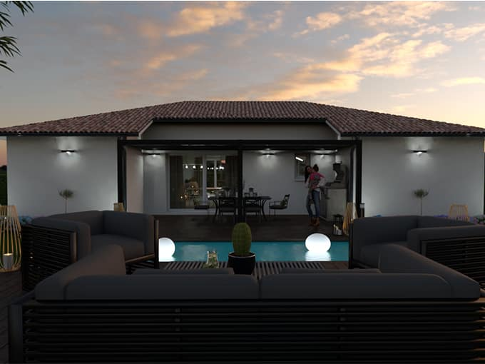 Piscine dans une terrasse devant une maison moderne