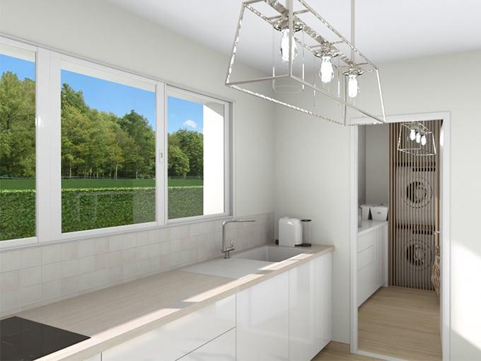 Cuisine moderne avec fenêtres horizontales
