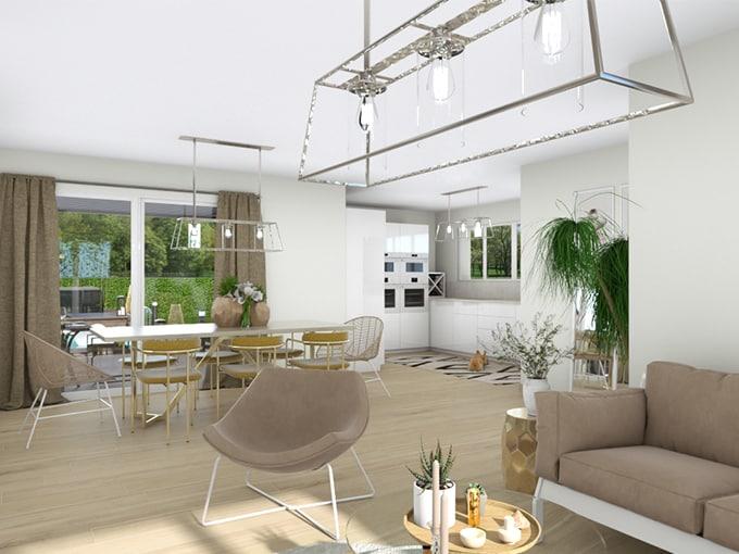 Séjour-salon avec table et canapé devant baie vitrée