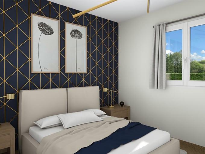 Chambre avec lit deux pièces