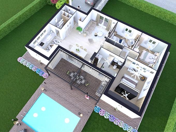 Plan d'une maison avec 3 chambres et une piscine