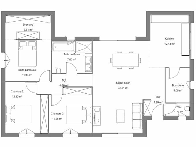 Plan de maison avec 3 chambres et un salon