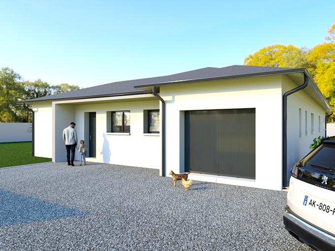 Entrée d'une maison moderne avec garage et auvent