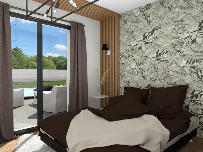 Chambre moderne avec porte fenêtre donnant sur la piscine
