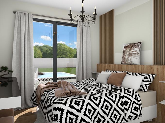 Chambre parentale avec porte fenêtre et un grand lit