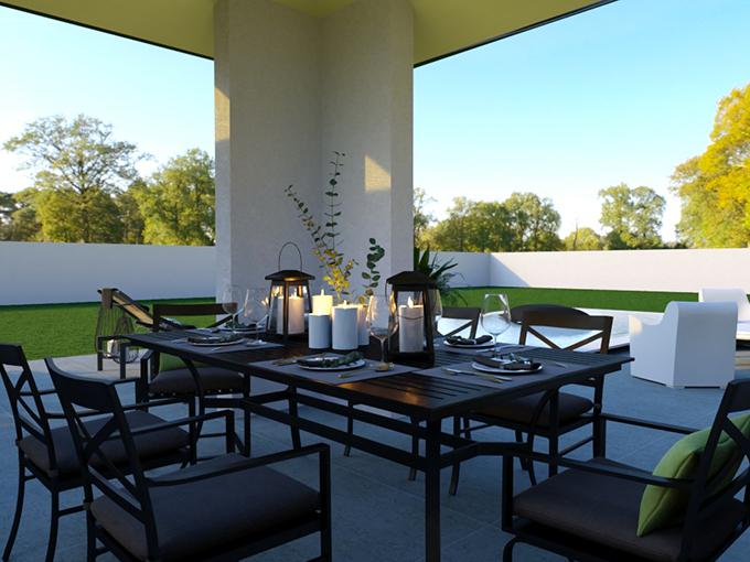 Terrasse couverte avec table pour manger et vue sur la piscine
