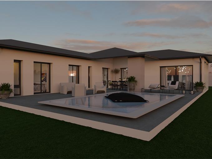 Maison contemporaine en L avec piscine