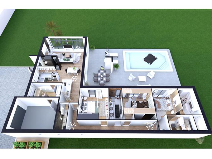 Plan de maison contemporaine avec 3 chambres et un garage