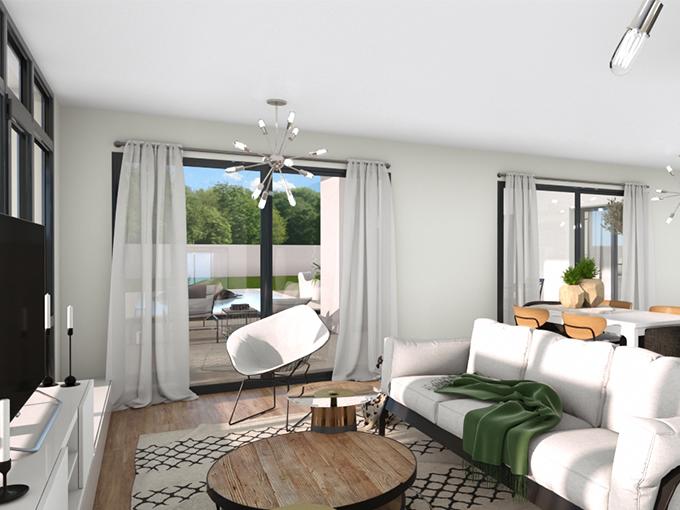 Salon d'une maison moderne avec canapé devant deux grandes baies vitrées