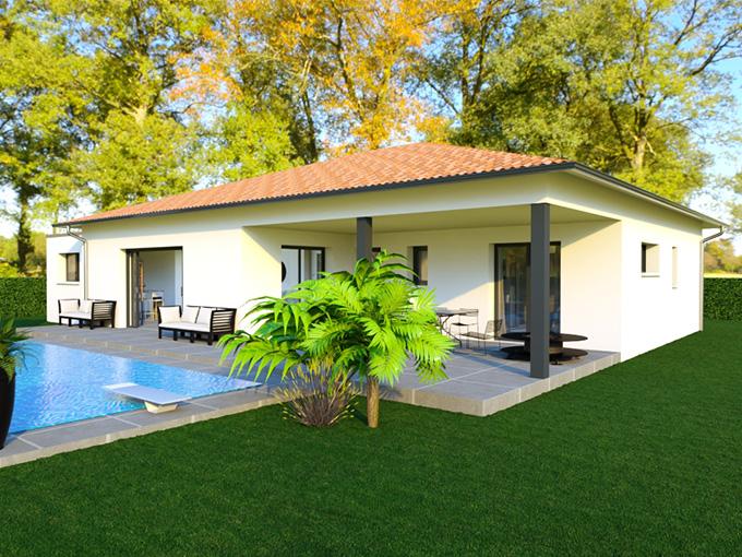 Terrasse couverte d'une maison moderne avec piscine