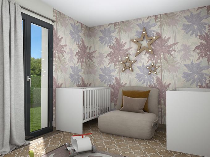 Chambre d'enfants avec jouets et porte fenêtre