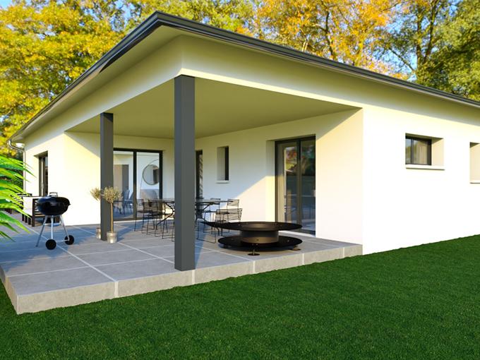 Terrasse couverte avec salon de jardin