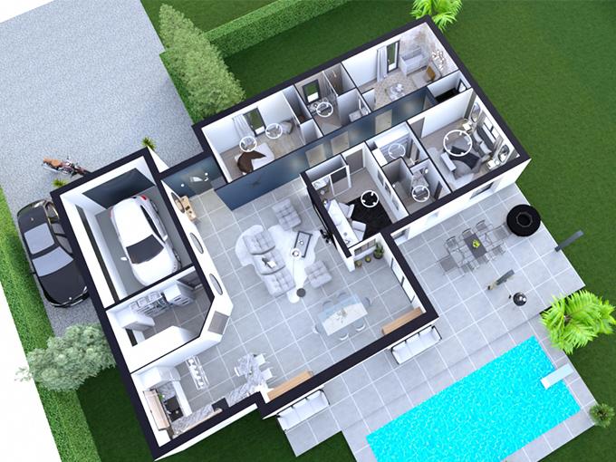 Plan d'une maison avec 3 chambres, un bureau et un garage