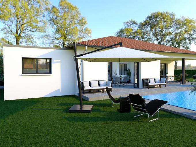 Maison moderne avec garage toit plat et piscine