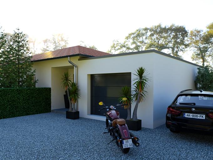 Entrée d'une maison moderne avec garage toit plat